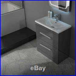 Complete Bathroom Fitted Furniture Patello Bath Unit Suite with Toilet Grey RH