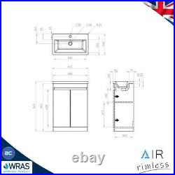 Modern AIR Rimless Close Coupled Toilet Vanity Unit Basin Sink Cloakroom Suite